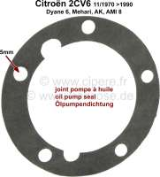 Oil pump seal (paper gasket) for Citroen 2CV6, starting from year of construction 11/1970. Mounting holes 5x8mm.