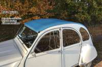 2CV old, soft top hood blue (Bleu Azurite). External locking, normal back window. Made in France -1 - 17428 - Der Franzose