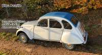2CV old, soft top hood blue (Bleu Azurite). External locking, normal back window. Made in France - 17428 - Der Franzose