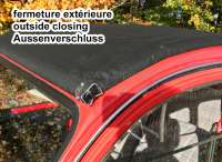 2CV old, soft top hood dark-blue outside closing, similarly ral 5008, grey-blue (Bleu navy) covering material fine-serrated. Normal back window. Made in France -2 - 17100 - Der Franzose