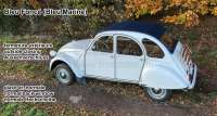 2CV old, soft top hood dark-blue outside closing, similarly ral 5008, grey-blue (Bleu navy) covering material fine-serrated. Normal back window. Made in France - 17100 - Der Franzose