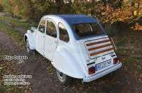 2CV old, soft top hood deaf-blue, outside closing. (Bleu Celeste), normal back window. Made in France -1 - 17130 - Der Franzose