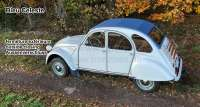 2CV old, soft top hood deaf-blue, outside closing. (Bleu Celeste), normal back window. Made in France - 17130 - Der Franzose