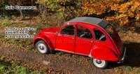 2CV old, soft top hood grey, outside closing (Gris Cormoran), normal back window. Made in France - 17129 - Der Franzose