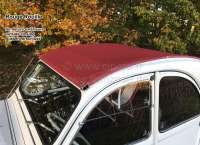 2CV old, Soft top hood red (Rouille). External locking, normal back window. This darker red installed in the sixties and seventies. Made in France -2 - 17430 - Der Franzose