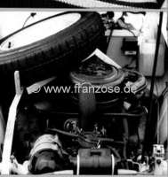 Spare wheel carrier from high-grade steel. The handle is mounted in the engine compartment. Suitable for Citroen 2CV starting from 1971. Made in Germany. -1 - 19029 - Der Franzose