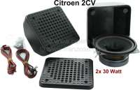 Loudspeaker (2 fittings), suitable for Citroen 2CV. The loudspeakers are mounted in the dashboard. The connection material is provided. 2x 30Watt, 110x110x65 mm. - 18110 - Der Franzose