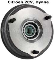 Brake drum rear (new part), with mounted wheel bearing. The brake drum is ready for assembly mounted. Consisting of: New brake drum, new wheel bearing, new shaft seal, new wheel bearing screw. Suitable for Citroen 2CV. - 12141 - Der Franzose