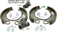 Brake shoe set rear, with wheel brake cylinders (piston 15,9mm). Suitable for Citroen 2CV4 + 2CV6, of year of construction 07/1981 to 1990. Dyane 6, AMI 8, Mehari. Brake system: LHM. Original Valeo, no reproduction. Brake line connector: 8,0mm. For drum diameters: 180mm. Lining-wide: 34mm. | 13247 | Der Franzose - www.franzose.de