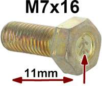 M7x16, screw yellow galvanizes, with Chevrons. 11mm head. Thread pitch: ISO 1,00. For the original-faithful restoration! Made in Europe - 21159 - Der Franzose