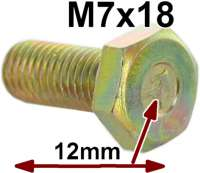 M7x18, screw yellow galvanizes, with Chevrons. 12mm head! Thread pitch: ISO 1,00. For the original-faithful restoration! Made in Europe - 21160 - Der Franzose