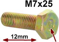 M7x25, screw yellow galvanizes, with Chevrons. 12mm head! Thread pitch: ISO 1,00. For the original-faithful restoration! Made in Europe - 21162 - Der Franzose