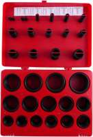 O-Ring Assortment, 419 pcs. 32 sizes R-01 - R-32, inner-ø 3-50 mm, oil-, petrol- and acid-resistant. Made in Germany. - 20980 - Der Franzose