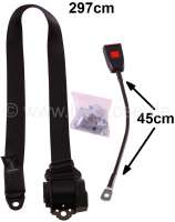 Safety belt front. Suitable on the left + on the right (extended), for Citroen 2CV. 3 spot belt, inclusive buckle connection (belt latch mechanism). Automatic seat belt re-tractor. Belt length: 297cm. Buckle connection: 45cm. The belt has a