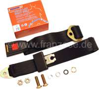 Safety belt rear (lap belt), for Citroen 2CV. At the rear left + rear on the right fitting. The belt is supplied with belt latch mechanism. The belt has a