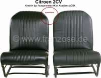 2CV, Covering front seat (2x) on the left + on the right. Symetric, vinyl black, the surface is smooth. Sides closed. Suitable for Citroën 2cv, fourgonnette AK, Acadiane ACDY - 18315 - Der Franzose