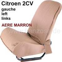 2CV, covering front seat on the left, Symetric. Vinyl light brown (Marron). The sides are closed. The surface is pierced (basket Design, Aéré). | 18302 | Der Franzose - www.franzose.de