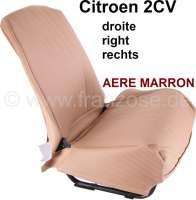 2CV, covering front seat on the right, Symetric. Vinyl light brown (Marron). The sides are closed. The surface is pierced (basket Design, Aéré). | 18301 | Der Franzose - www.franzose.de