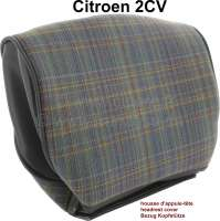 2CV, Headrest cover for Citroen 2CV Club. Grey with blue + red threads, final version, Installed until 1990. Suitable to the coverings 18362. - 18332 - Der Franzose
