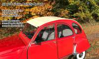 Soft top hood, beige, similar to 1002, (Gazelle-Ivoire,Borelly-Nevada), outside closing for Dolly beige-wine-red, 2cv. Made in France -1 - 17089 - Der Franzose