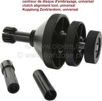 Clutch Alignment Tool, Universal. For single plate clutches. Suitable for flywheels with or without pilot bearing. Fast to fit and remove. Universal applications. Size of collets: 14mm to 28mm across 3 adaptors. Cone size range from 35mm < 67mm (for almost all classical french cars) - 20555 - Der Franzose