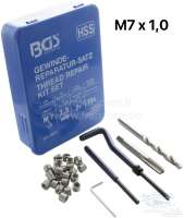 Thread Repair Kit M7x1, for repairing damaged threads. For plating threads in materials with low shearing strength 1 twist drill, 1 tap, 1 installation tool, 1 tang breaker, 20 x M7x1 coil. - 20982 - Der Franzose