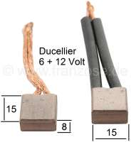 Starter brushes, for Ducellier 6 V + 12 V. Suitable for Citroen AMI6 + AK to year of construction 1966 (6 V, A533-15). Citroen HY, 12 V (Or. No. 2D5423368C). Peugeot 203, 403, 404, 204. Panhard. Renault Dauphine, R8, Floride, Caravelle, R4, Estafette. Simca. Dimension: 15.0 x 8.0 x 15,0mm. | 48073 | Der Franzose - www.franzose.de
