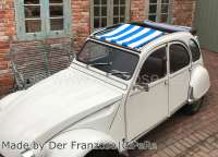 Suns sail (Awning) blue-white streaked. The sail is fixed when the roof is open! The sheathing of the central roof strut must be removed! Suitable for Citroen 2CV. -1 - 18410 - Der Franzose