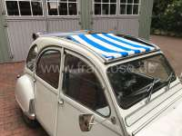Suns sail (Awning) blue-white streaked. The sail is fixed when the roof is open! The sheathing of the central roof strut must be removed! Suitable for Citroen 2CV. -2 - 18410 - Der Franzose