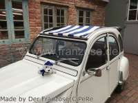 Suns sail (Awning) dark blue (Marine)-white streaked. The sail is fixed when the roof is open! The sheathing of the central roof strut must be removed! Suitable for Citroen 2CV. - 18256 - Der Franzose