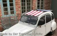Suns sail (Awning) dark red (Bordeaux)-white streaked. The sail is fixed when the roof is open! The sheathing of the central roof strut must be removed! Suitable for Citroen 2CV. -1 - 18257 - Der Franzose