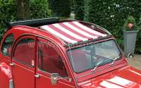 Suns sail (Awning) dark red (Bordeaux)-white streaked. The sail is fixed when the roof is open! The sheathing of the central roof strut must be removed! Suitable for Citroen 2CV. - 18257 - Der Franzose
