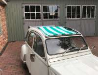 Suns sail (Awning) green-white streaked. The sail is fixed when the roof is open! The sheathing of the central roof strut must be removed! Suitable for Citroen 2CV. -2 - 18411 - Der Franzose