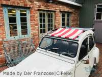 Suns sail (Awning) red-white streaked. The sail is fixed when the roof is open! The sheathing of the central roof strut must be removed! Suitable for Citroen 2CV. - 18198 - Der Franzose