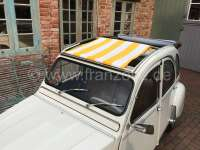 Suns sail (Awning) yellow-white streaked. The sail is gripped by opened roof! The shroud of the medium roof strut must be dismantled! Suitable for Citroen 2CV.   18199   Der Franzose - www.franzose.de