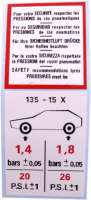 Sticker air pressure, in 5 languages, for Mehari, Dyane. - 16341 - Der Franzose