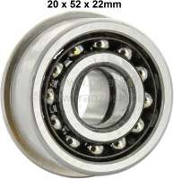 Bearing primary shaft, for Citroen 2CV6. Or. No.: 95572590. Reproduction. Dimension: 20x52x22mm. Depth gauge to bead seat wreath/ring: 19,00mm. - 10213 - Der Franzose