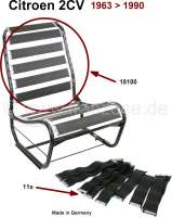 Belt conversion kit suitable for the backrest (for 1 seat in front), for Citroen 2CV. The belts renewed the rubbers and the jute cover underneath the upholstery. Note: The belts are only for the backrest. For the seat face you require our number 18099. Made in Germany - 18100 - Der Franzose