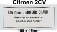 Label for the wiper engine. Suitable for Citroen 2CV. - 17531 - Der Franzose