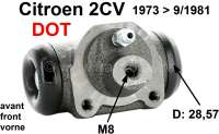 Wheel brake cylinder in front, brake system DOT. Piston diameter: 28,5mm. Brake line connector: 8,0mm. Suitable for Citroen 2CV, of year of construction 1973 to 9/1981. Made in Europe. - 13030 - Der Franzose