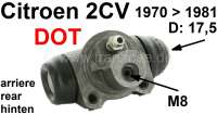 Wheel brake cylinder rear, brake system DOT. Suitable for 2CV4 + 2CV6, of year of construction 11/1970 to 08/1981 (for vehicles with drum brake in front). Piston diameter: 17,5mm. Brake line connector: 8,0mm. Original manufacturers Valeo and/or stop! - 13165 - Der Franzose