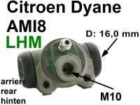 Wheel brake cylinder rear, brake system LHM. Suitable for Citroen Dyane, AMI8. Piston diameter: 16,0mm. Brake line connector: 10,0mm. A very rare wheel brake cylinder! Made in Spain. - 13190 - Der Franzose