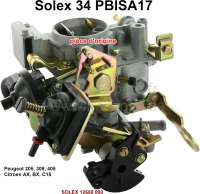 P 205/405/AX/BX/C15, carburetor SOLEX 34PBISA17 (no reproduction). Carburetor diameter: 34mm. Suitable for Peugeot 205 (1.4 moteur TU3A), 309 (TU3A), 405 (TU3A9). Citroen AX 1,4 TRS-TZS (moteur 1360), BX 1.4 (1360), C15 1.4 (1360). Original SOLEX carburetor, no reproduction. Or. No. Solex: 12688 000 - 71401 - Der Franzose