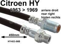 Brake hose rear on the right. Suitable for Citroen HY, of year of construction 1963 to 1969. Or. No. HY45356B. Made in France | 44063 | Der Franzose - www.franzose.de
