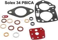 Carburetor sealing set small, Solex PBICA. Suitable for Peugeot 203, 403, 404. Citroen 11CV, HY, DS (early years of construction). - 72782 - Der Franzose