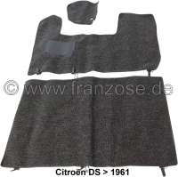 DS >1961, carpet set in dark grey. Original-faithful reproduction! Suitable for Citroen DS, to year of construction 1961 (Semi-automatic transmission). The color of the carpet set corresponds to the original! | 38457 | Der Franzose - www.franzose.de