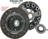 Complete clutch, new parts only. Suitable for Citroen HY, starts from 10/1968 to 1981. Consisting of: Pressure plate, pressure plate adjustment tool, clutch disk, release bearing. Attention: Please do follow the original Citroen working instructions H312-3, for the adjustment of the pressure plate, position of the release bearing, adjustment of the pedal travel! It is absolutely necessary to work according to the instructions for the Citroen HY. Please read first, then start working! Many things are adjusted differently than known from modern cars! A correct function is not given, if you do not work according to the original workshop manual! | 48376 | Der Franzose - www.franzose.de