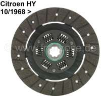Clutch disk, new part. Suitable for Citroen HY, starting from year of construction 10/1968. 8 teeth. Diameter: 215mm. Thickness under load: 9,3mm (like original). Or. No. H313-01B. Made in Europe - 48032 - Der Franzose
