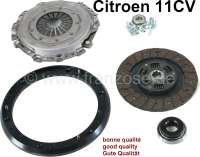 Clutch set complete for Citroën 11CV. Improved high quality clutch reproduction. Replacement for original clutch. No technical modification required. Very same weight as original clutch. Hardened pressure plate and driving disc are made in Germany. Good quality and easy fitting stop ring alignement. Release level with reinforced ball-bearing. Clutch disk: 215mm. Splines inside: 21mm. Splines outside: 25mm. 8 teeth. - 60785 - Der Franzose
