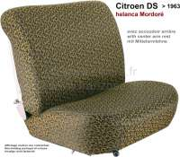 DS > 1959, coverings in front + rear. Citroen DS, of year of construction 1958 to 1959 (low backrest, with center arm rest in the rear seat bench). Color: Helanca Mordoré. Smooth seat faces. | 38585 | Der Franzose - www.franzose.de